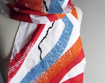 Vintage Scarf in Red White Blue and Orange Abstract Print