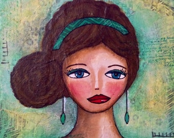 "Original Mixed Media Painting on 8x10 Canvas Panel - Painting Home Decor Art Work - Folk Art - ""Traditional Girl"""