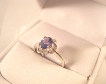 Tanzanite Flower Design Ring