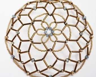 Smokey Blue and Muted Gold Kippah