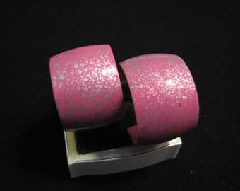 BIG Vintage Pink and Silver Paint Splattered Hoop Pierced Earrings