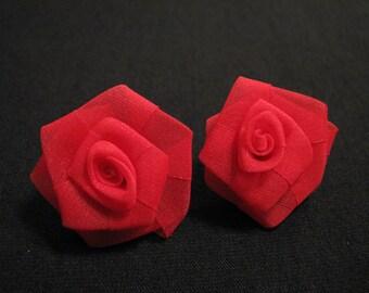 Vintage Red Fabric Rose Flower Pierced Earrings