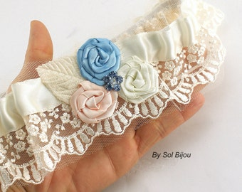 Garter, Ivory, Blue, Dusty Blue, Pink, Blush, Elegant Wedding, Garger Belt, Toss Garter, Something Blue, Vintage Wedding, Lace, Crystals