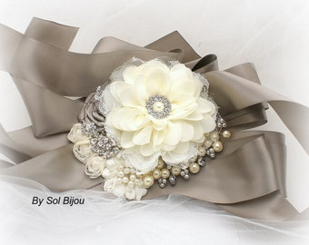 Sash, White, Gray, Silver, Ivory, Elegant Wedding, Vintage Style, Bridal, Maid of Honor, Lace, Crystals, Pearls, Brooch, Gatsby