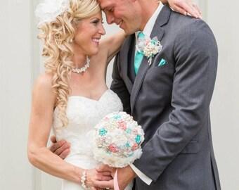 Brooch Bouquet, Ivory, Coral, Turquoise, Aqua, Blue, Robins Egg, Vintage Style, Wedding Bouquet, Bridal Bouquet, Jeweled, Lace Bouquet