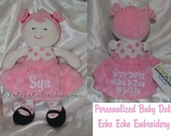 Baby doll, Rag doll personalized keepsake birth info babies Name Doll Snuggle Buddy