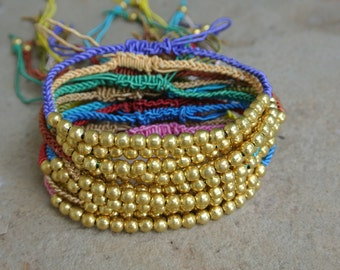 WOW SALE / Bohemian Woven Beaded Brass Anklets Stackable 12 for 14.99