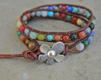 JustHipStuff Gemstone  Beaded Leather Wrap Bracelet