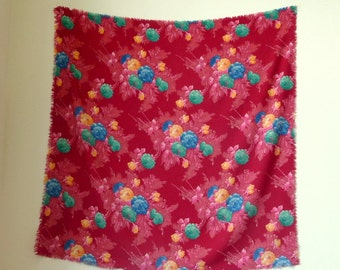 Shawl - Multicolor - Flower Pattern - India - Scarf - Romantic - Floral - Red Roses  - 80s - Rayon - Square - Valentines - Recycled UNIQUE