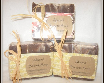 Almond Biscotti All Natural Handmade Soap---HUGE BAR! Lovely scent! Gentle!