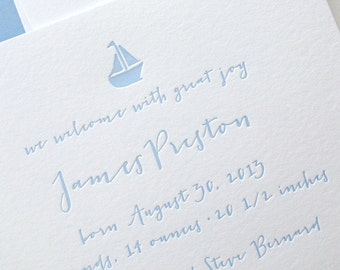 Custom Letterpress Baby Announcement - Little Boat - Set of 50