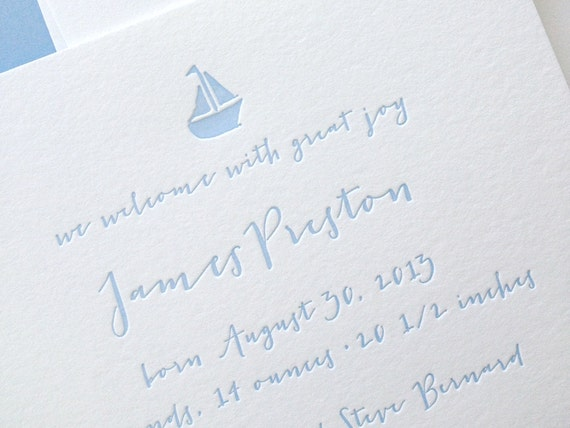 Custom Letterpress Baby Announcement - Little Boat - Set of 50