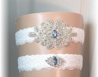 Wedding Garter Set - Bridal Garter - Vintage Style Light Ivory Lace Bride's Garter Set with Sapphire Blue Crystal Accents