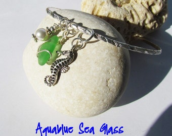 GENUINE Green Sea Glass Bangle Bracelet From Puerto Rico Sea Glass Bangle  Beach Jewelry Bride Gift Bridemaids Gift Wedding  FREE SHIPPING
