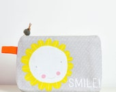 "canvas zipper cosmetic pouch ""Smile"" quote in gray and yellow with flower / Valentine's gift"