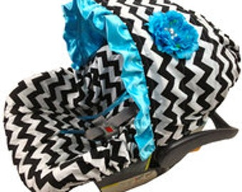 Infant Car Seat Cover, Baby Car Seat Cover, Black and White Chevron infant seat cover, gender neutral baby car seat cover, infant slipcovers