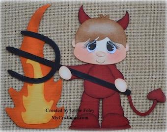 Devil Boy Premade Halloween Scrapbooking Embellishment Paper Piecing set