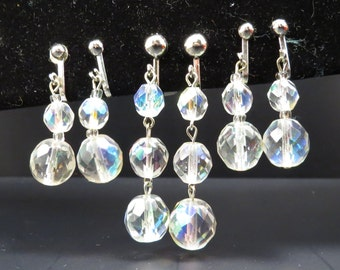 Set of 3 Vintage 1950s Faceted Aurora Borealis Crystal Ball Earrings - FREE Domestic Shipping