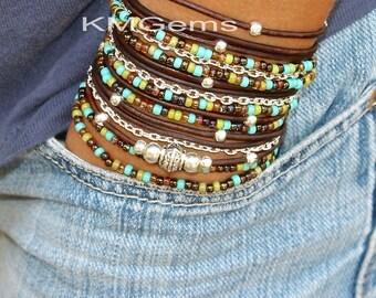TURQUOISE Boho Leather Wrap Chain Bracelet - Leather Triple Wrap Bracelet w/ Picasso Miyuki / Silver accents - Pick SIZE / COLOR - Usa - 89