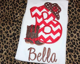 Cowgirl Initial western shirt or ruffle dress- rodeo time