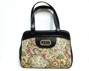 Tapestry Carpet Bag Vintage 80s Floral Pattern Leather Trim Gold Brass Shoulder Bag