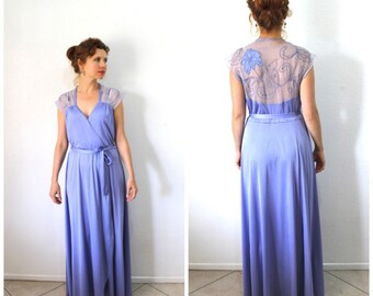 Vintage 50s Lingerie Robe Lavender Gown Sheer Chiffon Embroidered Long Medium