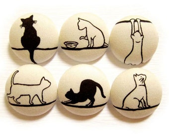 Cat Buttons Sewing Buttons / Fabric Buttons - 6 Large Fabric Buttons Set - Leisurely Cats on Cream LIMITED SETS
