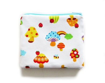 Zipper Pouch - Colorful Mushroom Canvas - Available in Small / Large / Long
