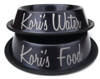 Engraved Food Bowl - Personalized - Custom - Grey - Charcoal - Water Bowl -  Stainless steel with name