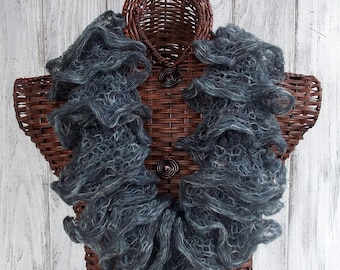 SALE Knitted ruffle cowl in grey and white, soft and fluffy fashion accessory