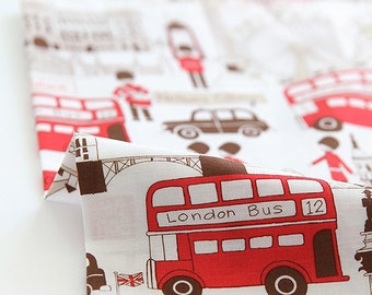 Lovely BRown illus of London Eye and Stripes on cotton, U137