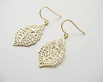 Matte Gold Paisley Filigree Earrings Your Choice Titanium And Gold Ear Wires Modern Boho Everyday Earrings