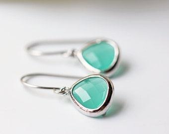 Small Light Mint Glass Earrings Silver Green Dangle Titanium Bridesmaids