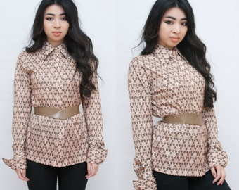 SALE Groovy Geometric Brown and Tan Polyester Big Collared Button Up Shirt