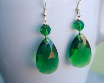 Swarovski Crystal Dark Moss Green Tear Drop Earrings