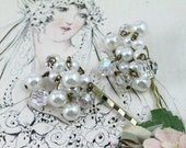 Pair Vintage Jeweled Bobby Pins - White Pearl and Crystal Dangling Clusters - Bridal Hair Pins - Wedding Day Hair Jewelry by Boutique Bijou