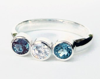 Triple Birthstone Ring - Mothers Ring - Family Ring - Grandmothers Ring -  Birthstone Rings - Faceted Gemstone Ring - Sterling Silver