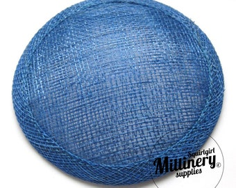 Round Millinery Sinamay Hat Base for Fascinators, Cocktail Hats and Wedding Veils - Royal Blue