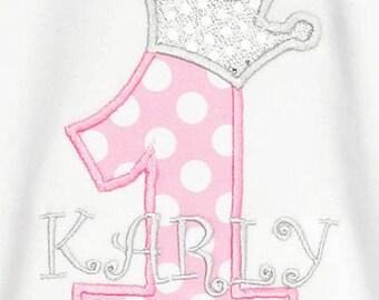 Princess Birthday Shirt, Princess Crown Birthday Shirt, Monogrammed,Custom, Shirt, Tank,Bodysuit,Romper,Sizes 3 months up to 12 years,Gift