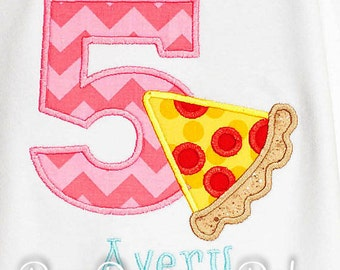 Pizza Birthday Shirt, Number, Pizza Party Birthday Number, Custom Colors, Boys Birthday Shirt,Tank,Bodysuit,Romper,Sizes 3m to 12yrs,Gift