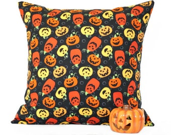 Pumpkins Halloween Pillow Cover Cushion Black Orange Rust Yellow Primitive Decorative 18x18