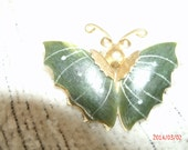Vintage Hunter Green and Goldtone Butterfly brooch
