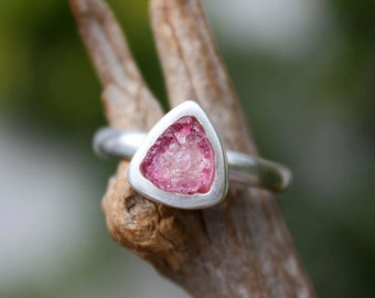 Pink tourmaline gemstone ring bi color rough slice uncut handmade sterling silver natural raw October Birthstone,choose your stone.
