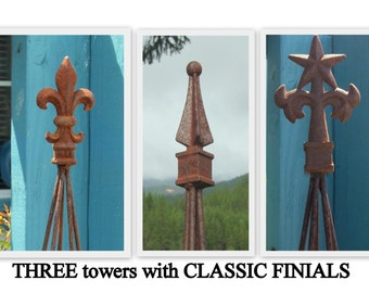 THREE All METAL Towers with THREE Different Finial Toppers