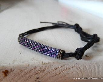 for her or him - surfer UNISEX bracelet with beaded tube - minimal chic - dark  purple
