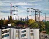 Original Plein Air Painting of Chicago Suburb -18x14in