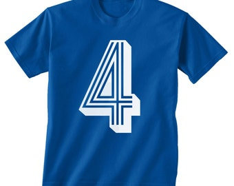 4th BIRTHDAY -- KIDS T shirt -- soccer number 4 Size 2t, 3t, 4t, youth xs, yth sm, yth med, yth lg ( 7 COLORS ) skip n whistle