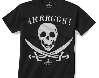 PIRATE SKULL -- KIDS T shirt -- (7 color choices) Size 2t, 3t, 4t, youth xs, yth sm, yth med, yth lg skip n whistle