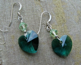 SALE 25% DISCOUNT Emerald and Peridot Swarovski Heart Sterling Silver Drop Earrings