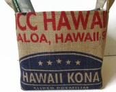 MTO. Hawaii Kona Coffee Burlap Gift or Storage Basket. Repurposed UCC Ueshima Coffee Co. Coffee Bag - Large.